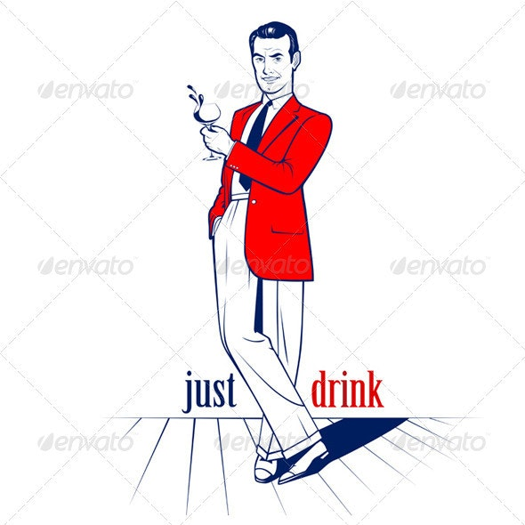 Cocktail Drink Man - People Characters