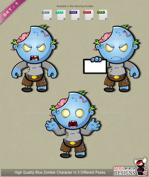 Blue Zombie - Set 1 - Monsters Characters