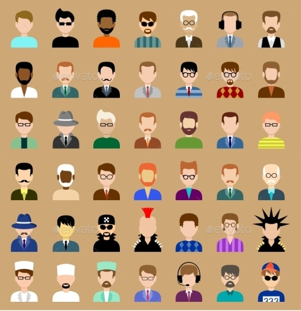 Set of Circle Flat Icons with Men - People Characters
