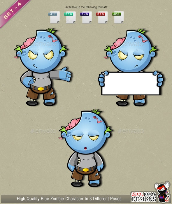 Blue Zombie - Set 4 - Monsters Characters