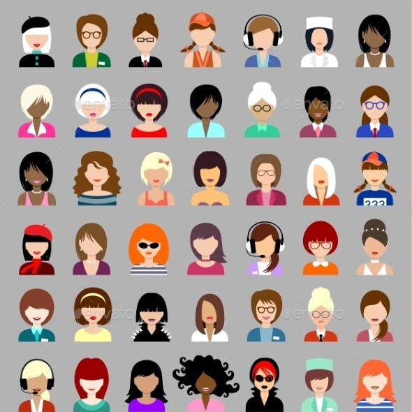 Set of Circle Flat Icons with Women