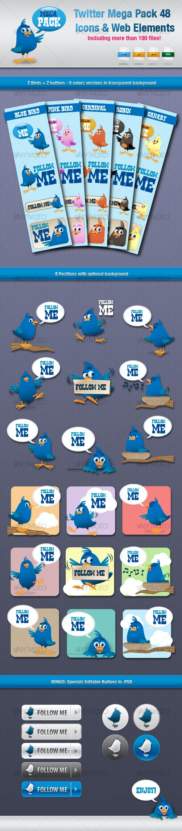 Twitter Mega Pack 48 Icons &Web Elements - Animals Characters