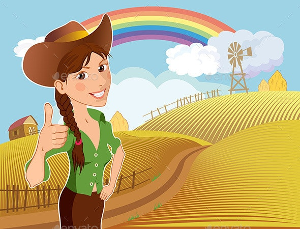 Farm Girl Cartoon Character - People Characters