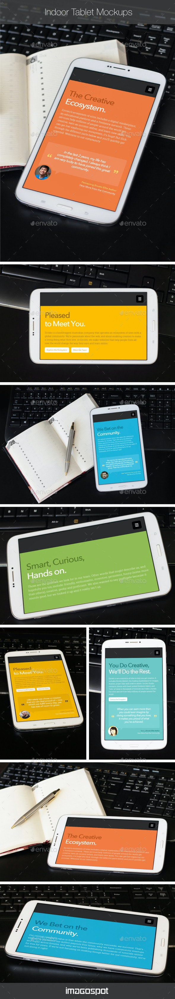 Photorealistic Indoor Tablet Mockups - Mobile Displays