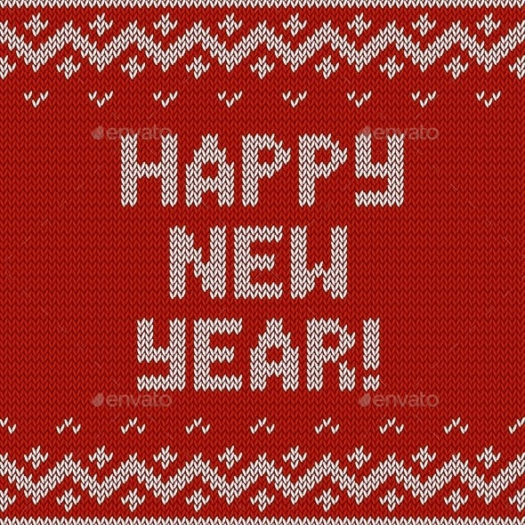 Card of Happy New Year 2015 with Knitted Texture