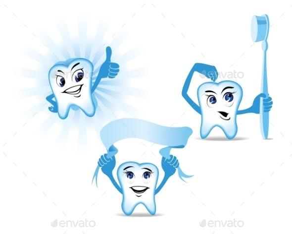 Blue Teeth Mascots - Health/Medicine Conceptual