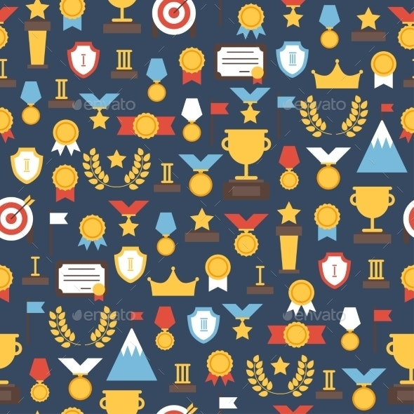 Seamless Pattern of Award Icons - Backgrounds Decorative