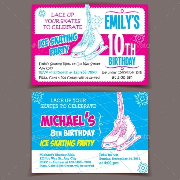 Ice Skating Birthday Party Invitation Cards