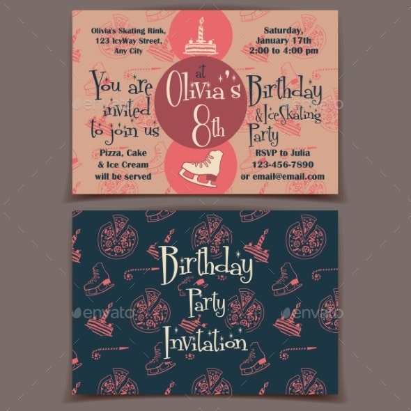 Ice Skating Birthday Party Invitation Card - Birthdays Seasons/Holidays
