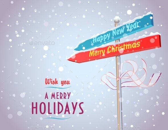 Road Sign with Arrows in Holiday Directions - Christmas Seasons/Holidays