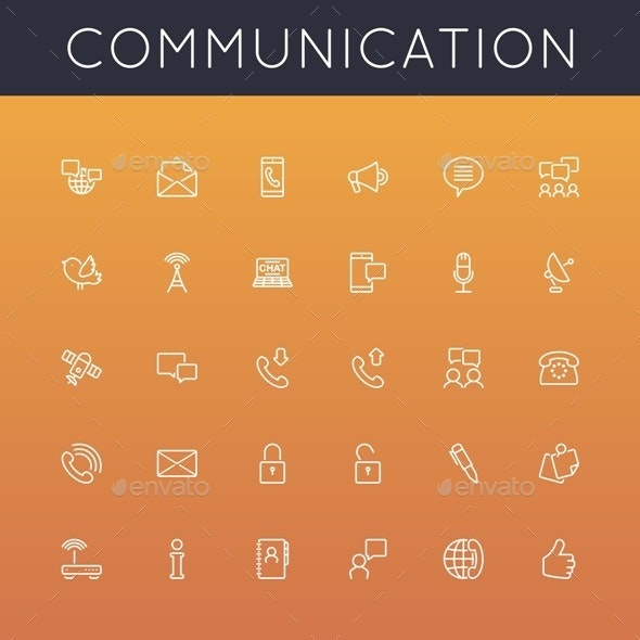 Communication Line Icons - Media Technology