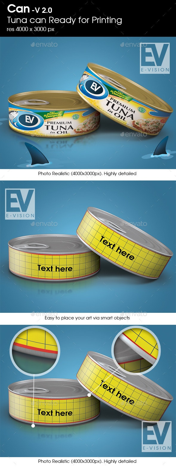 Canned Tuna V 2.0 - Mockup for Printing - Food and Drink Packaging