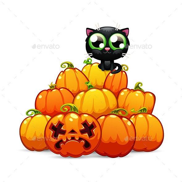 Heap of Halloween Pumpkins with a Black Cat - Halloween Seasons/Holidays