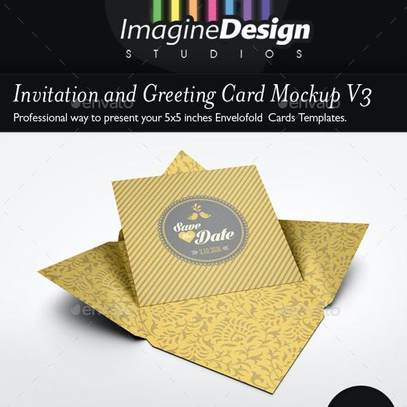 Invitation and Greeting Card Mockup V3