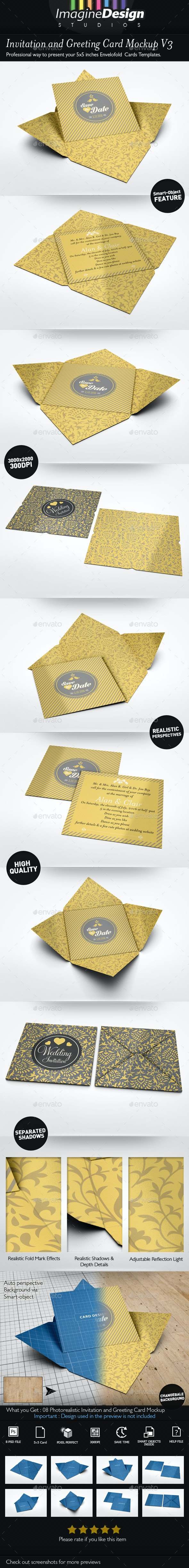 Invitation and Greeting Card Mockup V3 - Miscellaneous Print