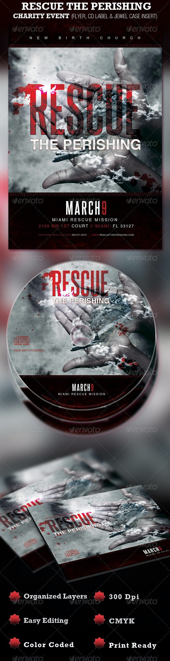 Rescue the Perishing Charity Event Flyer & CD - Church Flyers