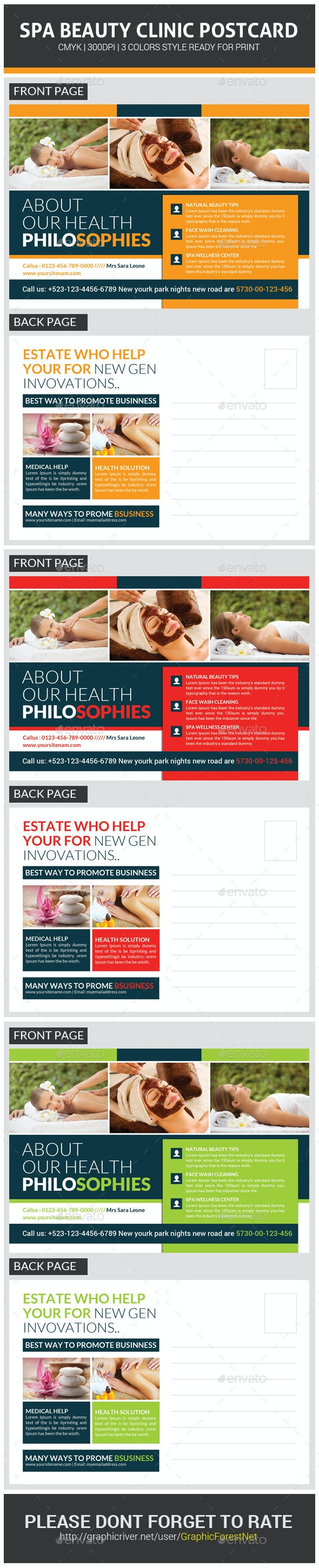 Spa Beauty Postcard Template - Corporate Flyers