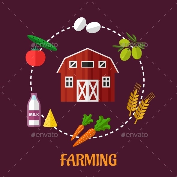Farming Infographic Showing Various Crops - Food Objects