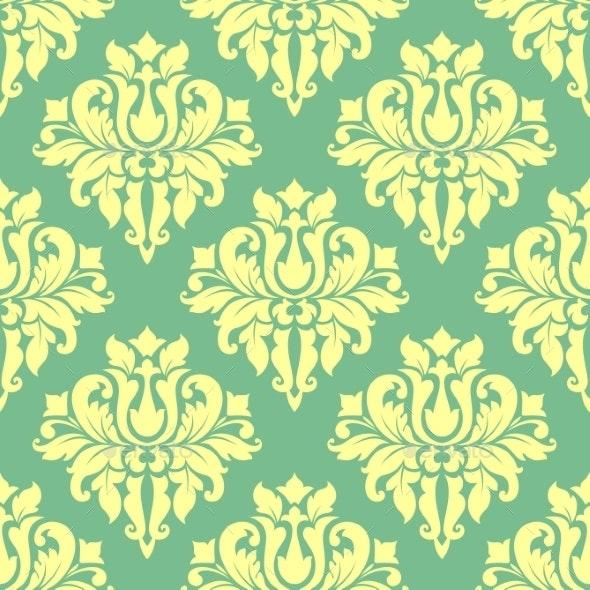 Floral Yellow Damask Seamless Pattern - Patterns Decorative