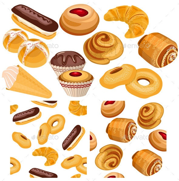 Set of Pastry Goods and Pattern - Food Objects