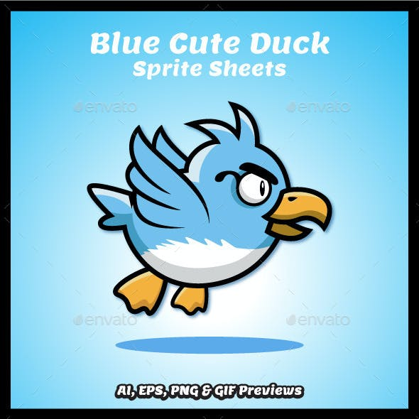 Cute Blue Duck Game Character Sprite Sheets
