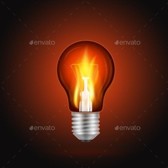 Fire in Light Bulb - Objects Vectors
