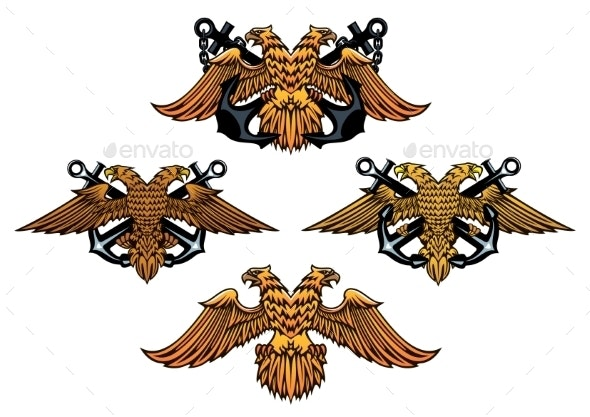 Double Headed Imperial Nautical Eagle Icons - Animals Characters