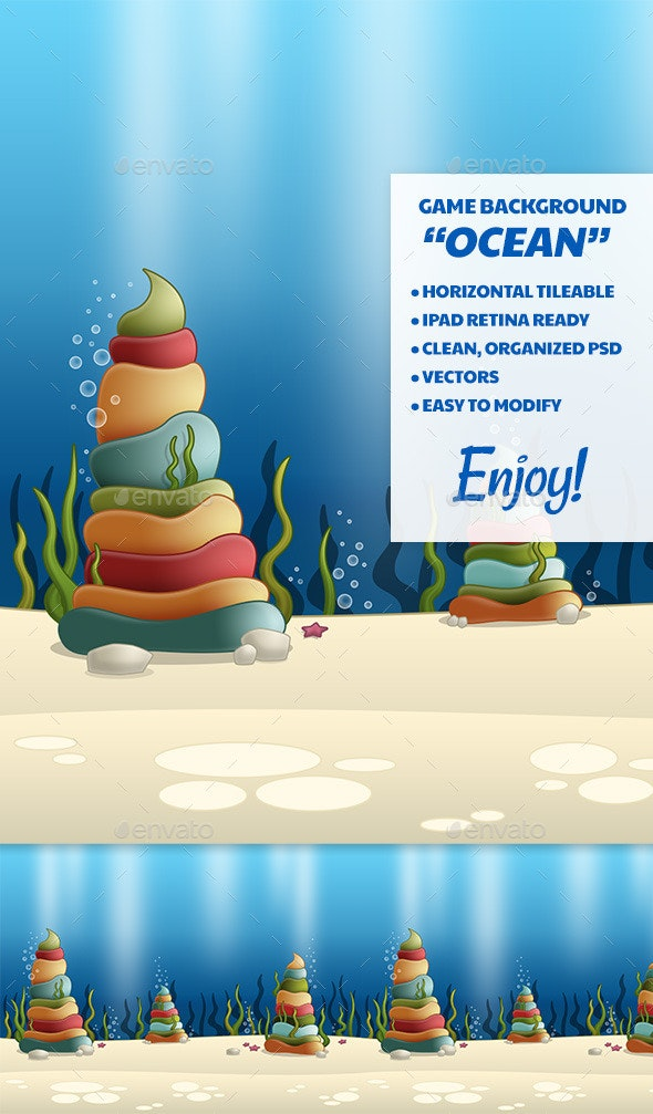 Ocean Game Background - Backgrounds Game Assets