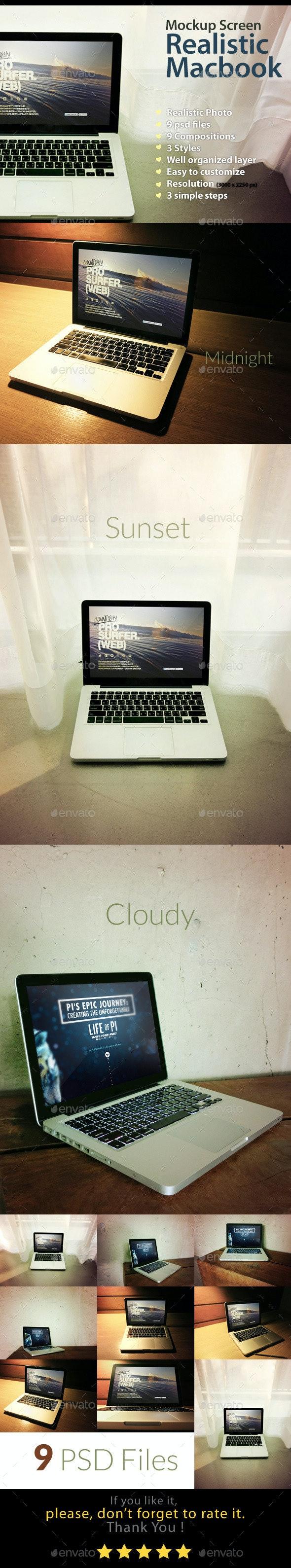 Realistic Macbook Mockup - Laptop Displays
