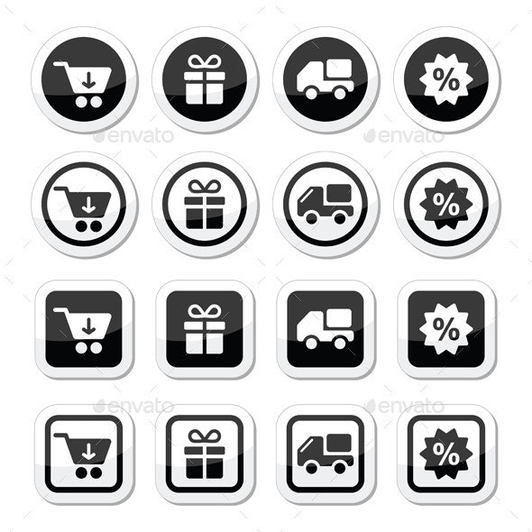 Shopping on Internet Black Icons Set with Shadow - Commercial / Shopping Conceptual