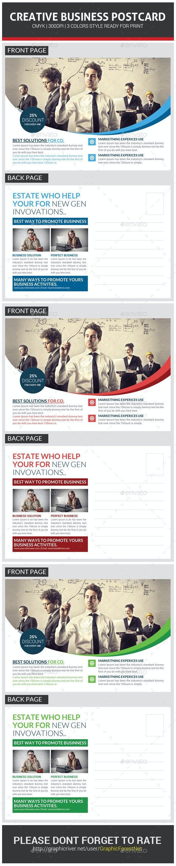 Corporate Business Postcard Template - Cards & Invites Print Templates