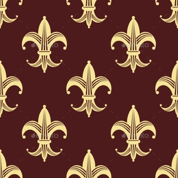 Seamless Background Pattern of Yellow Fleur de Lys - Patterns Decorative