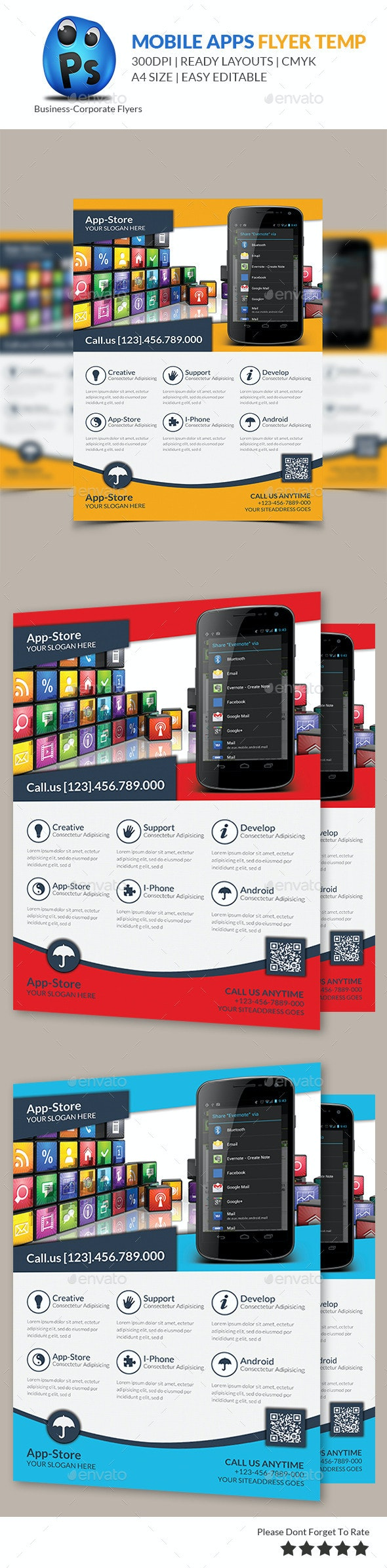 Mobile App Flyer Print Template - Corporate Flyers