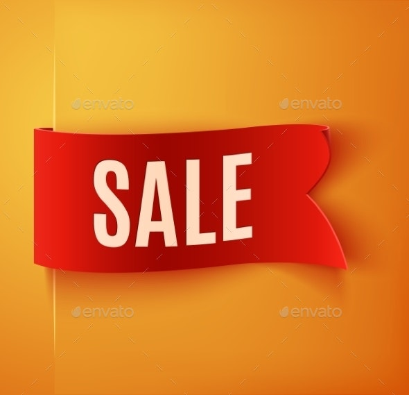 Red Realistic Detailed Curved Paper Sale Banner - Retail Commercial / Shopping