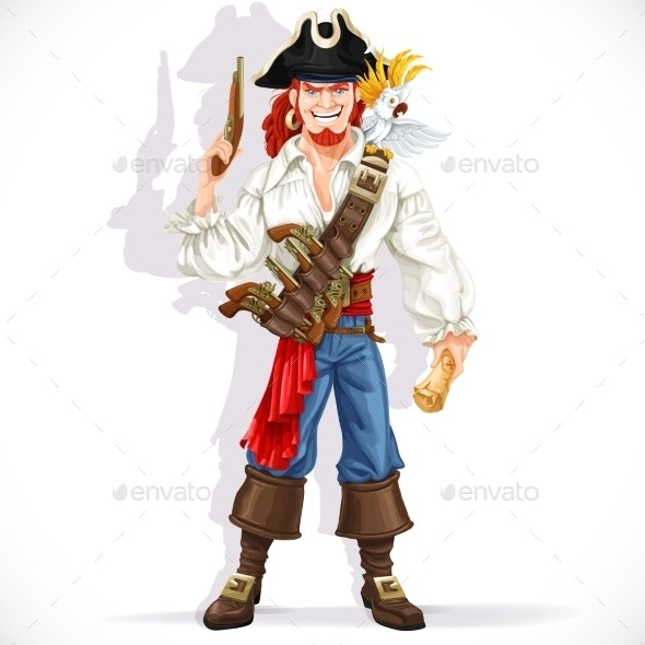 Brave Pirate with Pistol Hold Treasure Map  - People Characters