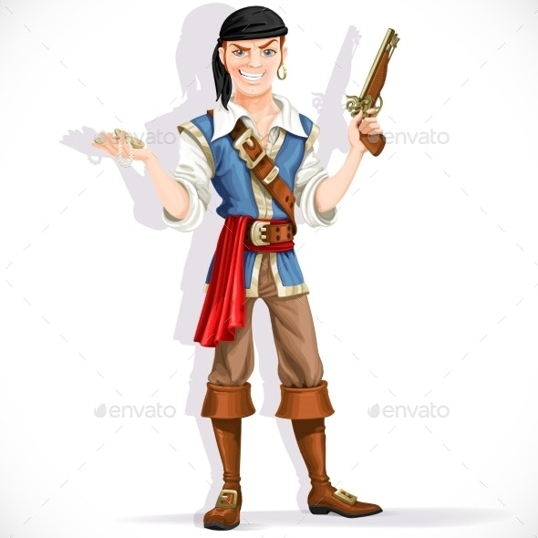 Brave Pirate with Pistol - People Characters