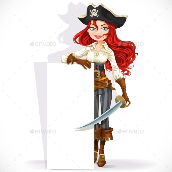 Cute Pirate Girl Hold Big Vertical Banner - People Characters