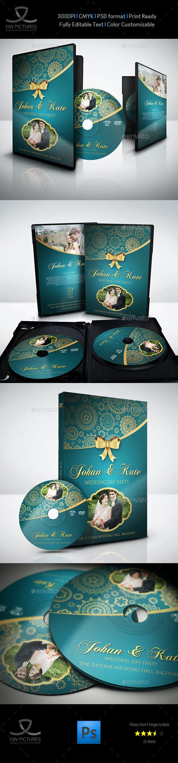 Wedding DVD Cover and DVD Label Template Vol.2 - CD & DVD Artwork Print Templates