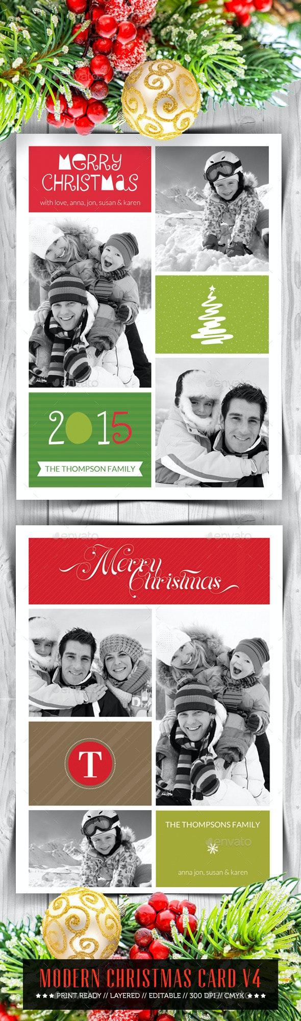 Modern Christmas Card V4 - Holiday Greeting Cards