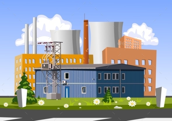 Electrical Generating Plant Vector Illustration - Buildings Objects