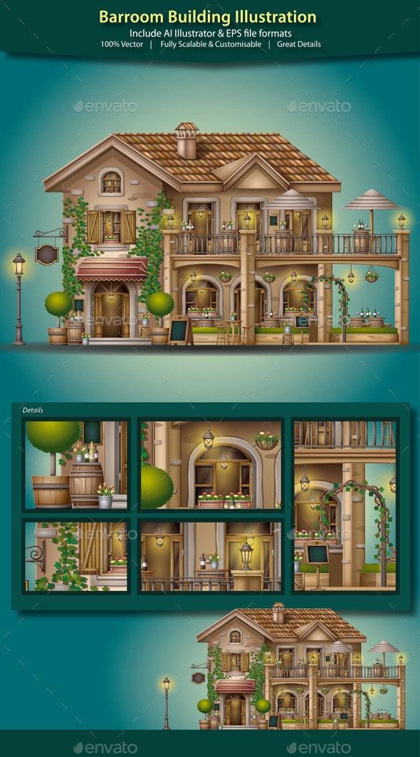 Barroom Building Illustration - Buildings Objects