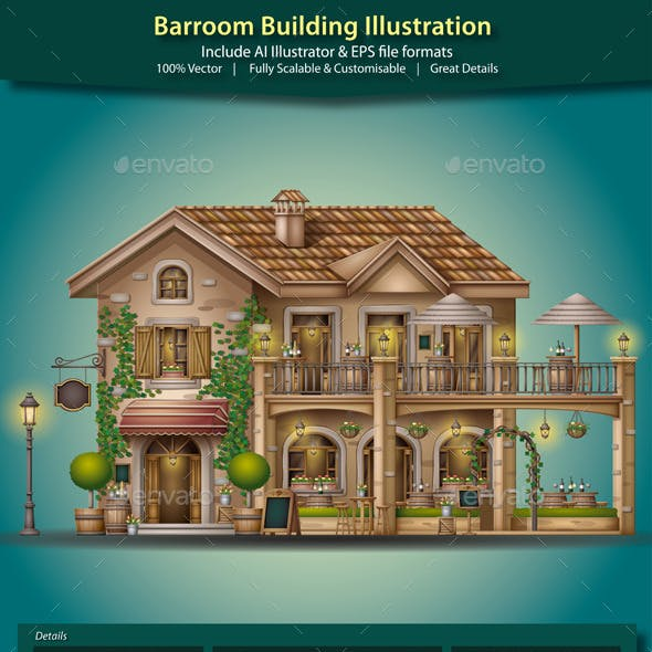 Barroom Building Illustration