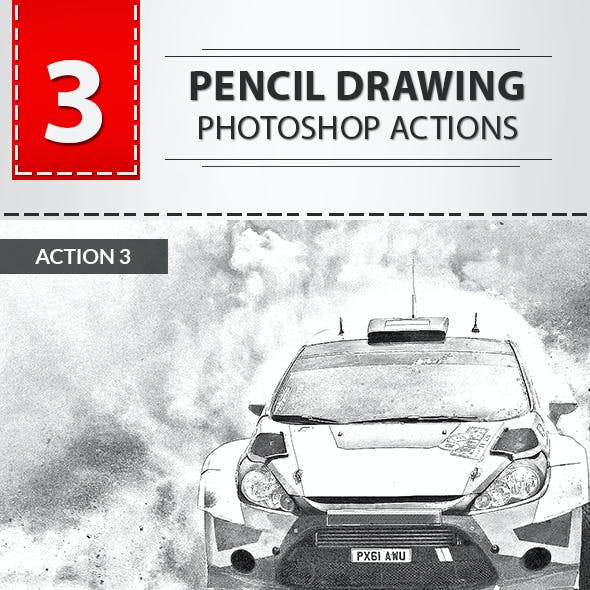 3 Pencil Drawing Photoshop Actions