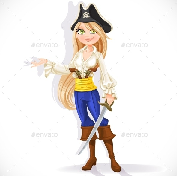 Cute Pirate Girl with Cutlass - People Characters