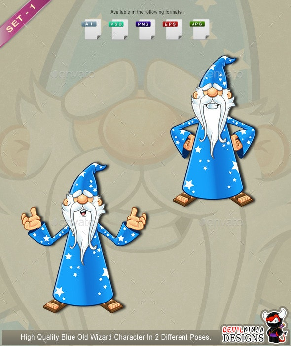 Blue Old Wizard Character - Set 1 - People Characters