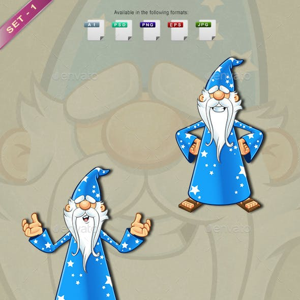 Blue Old Wizard Character - Set 1