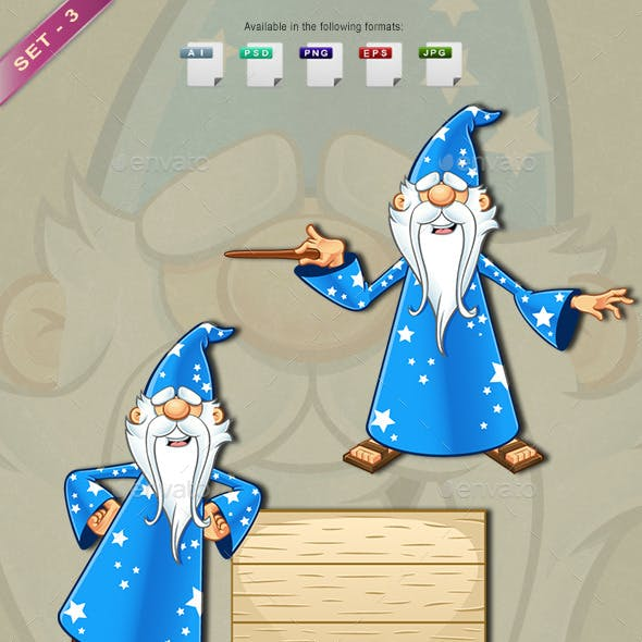 Blue Old Wizard Character - Set 3
