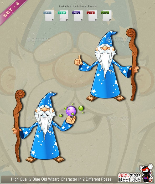 Blue Old Wizard Character - Set 4 - People Characters
