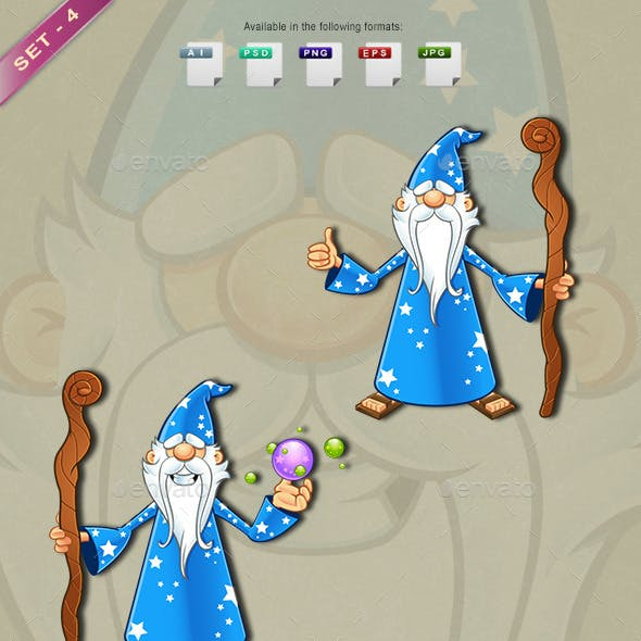 Blue Old Wizard Character - Set 4