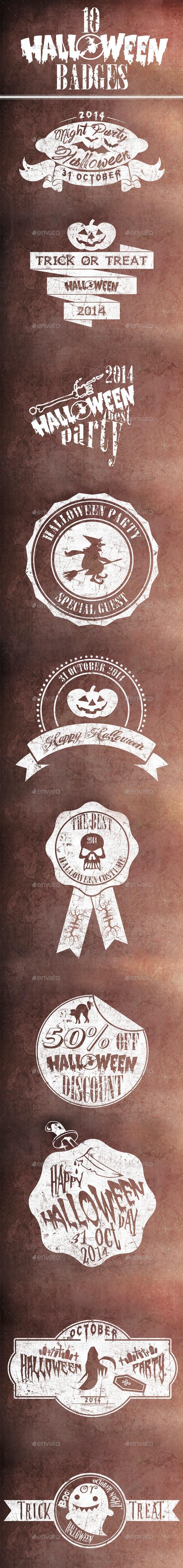 10 Halloween Badges - Badges & Stickers Web Elements